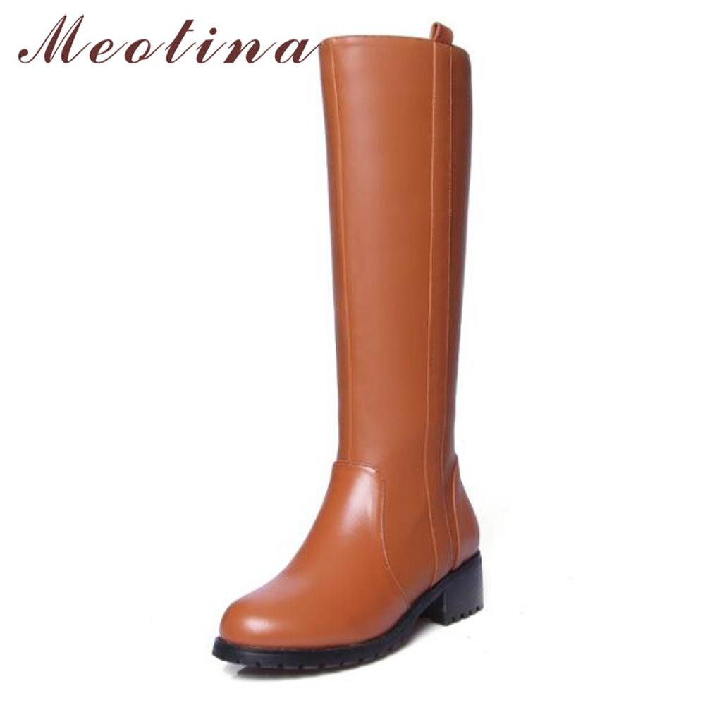 1389ca460cc Meotian Genuine Leather Boots Knee High Boots Women Riding Block Winter Med  Heel Motorcycle Ladies Shoes 2018 Black Fly Boots Skechers Boots From  Purpurpur