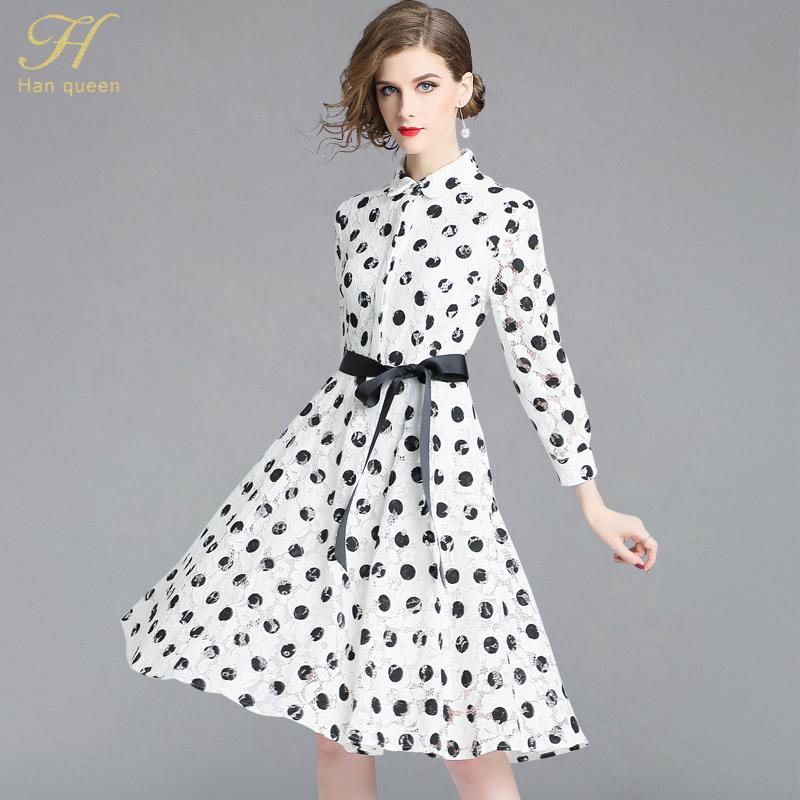 992822e3bc8bb 2019 H Han Queen 2018 Autumn Black White Dots Lace Dress Work Casual Slim  Fashion Hollow Out Dresses Women A Line Vintage Vestidos From Yyliang, ...
