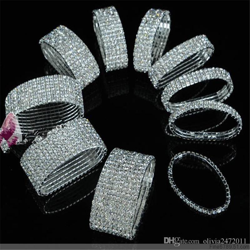 Neue Art und Weise Frau Armband Kristall Strass Stretch-Armband-Armband für Mädchen Armband elastische Hochzeit Brautschmuck