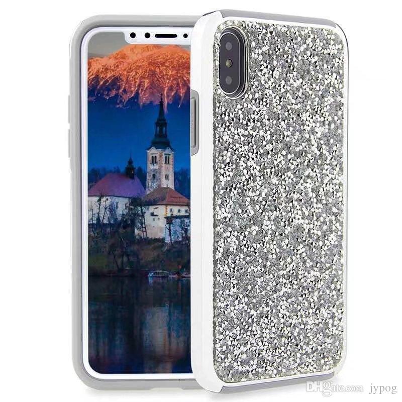 Para el caso de Iphone XS XR brillo de lujo Bling Rhinestone Diamond Case 2in1 Electroplate TPU Hard PC contraportada para Iphone XS MAX