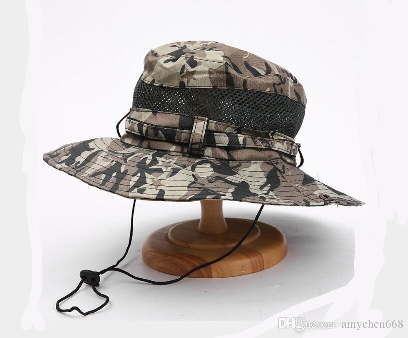 e22acbd619ff4 2019 Cotton Mult Color Military Camouflage Bucket Hats Camo Fisherman Hats  With Wide Brim Sun Fishing Bucket Hat Camping Hunting Hat From Amychen668