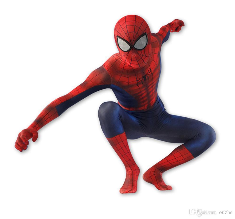 spiderman costume men/boy 3d adult the amazing spider man mask costume suit boys spandex black red halloween adult men Cosplay