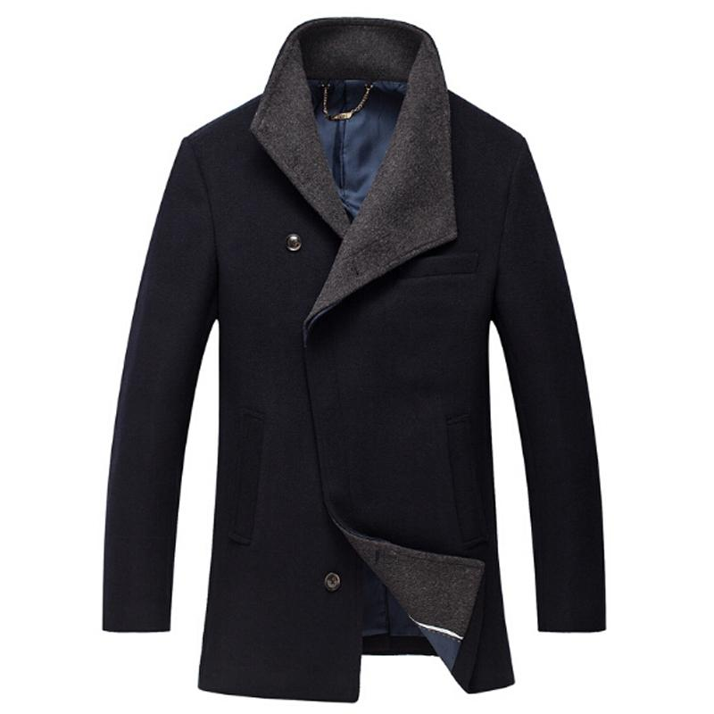 2018 Mens Winter Wool Coat For Men Slim Fit Fashion Jackets Mens Casual Warm Outerwear Jacket Overcoat Pea Coat Plus Size XXXL
