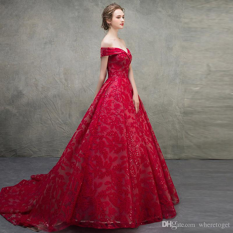 Luxury red victorian Ball Gown Wedding Dresses 2019 full Lace Sexy V Neck off shoulder lace up corset plus size bridal Wedding Gowns