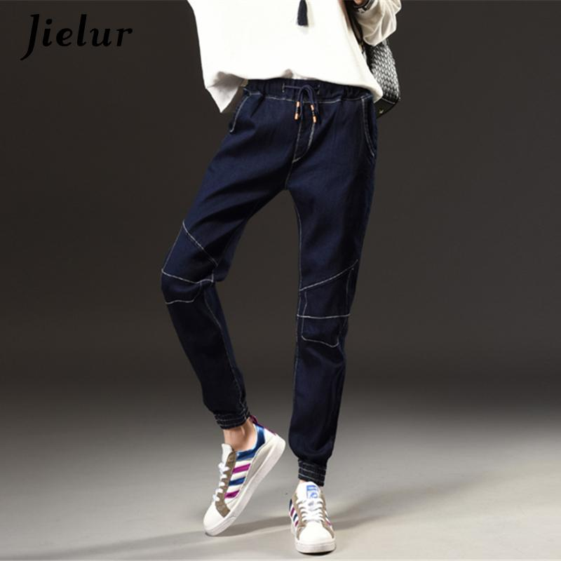 5e3cb4af35 2019 Winter Autumn New Fashion Simple Jeans Woman Elastic Waist Dark Blue  Plus Size Jeans Female Pockets Leisure Casual Harem Pants S18101603 From  Jinmei03