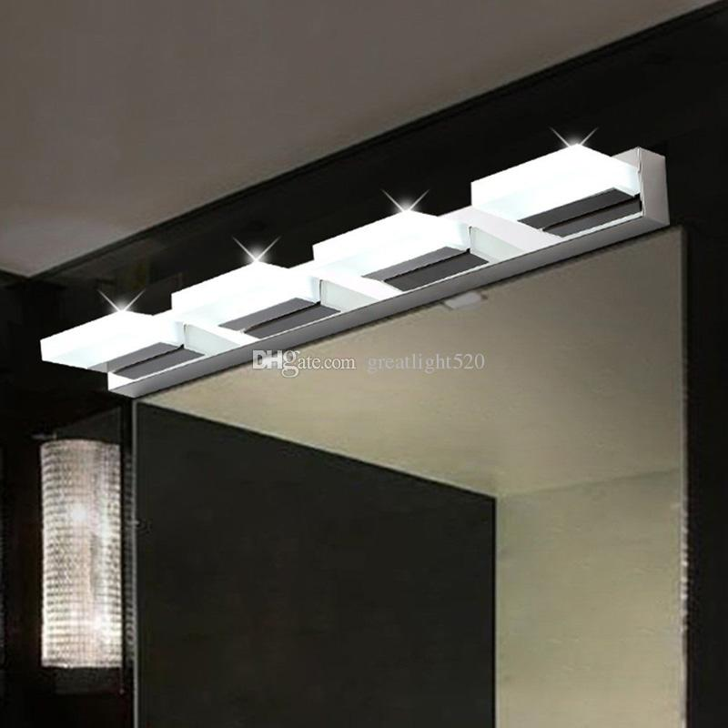 360 ° döndürün Banyo Akrilik LED Işık Ayna Ön Paslanmaz Çelik Duvar Lambası