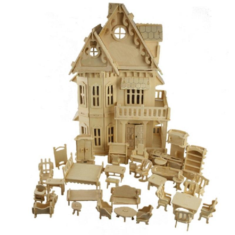 1:24 Scale Gothic Woodhouse Villa DIY Wooden Dollhouse And Furniture  Handcraft 3D Miniature Model Kitsu0026 Picture Childen Gifts Buy Doll House 18  Inch Doll ...