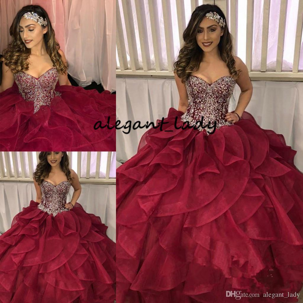 002f5f0b1 2018 Tiered Cascading Ruffles Quinceanera Dresses Pageant Dazzling Silver  Crystal Rhinestone Burgundy Organza Ball Gown Prom Dress For Women Xv  Dresses 15 ...