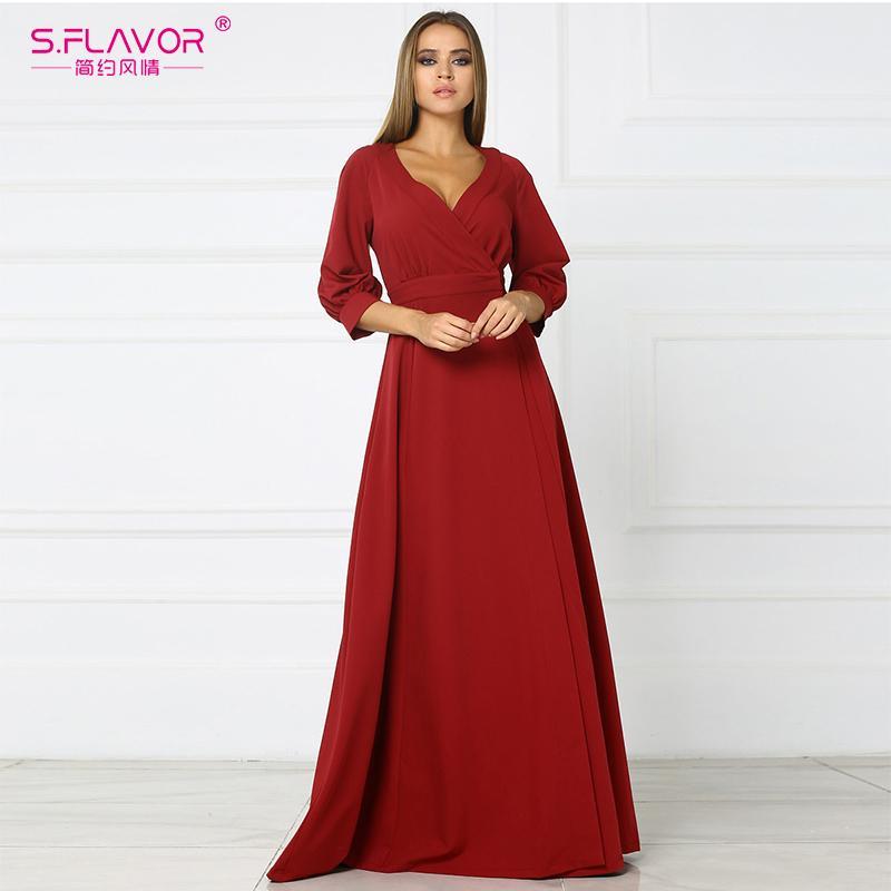 buy popular a2f3a 186f6 X S.FLAVOR rosso sexy party abiti 2018 autunno caldo vendita nuovo tre  quarti manica abito lungo femminile V-Neck impero abito alto fessura