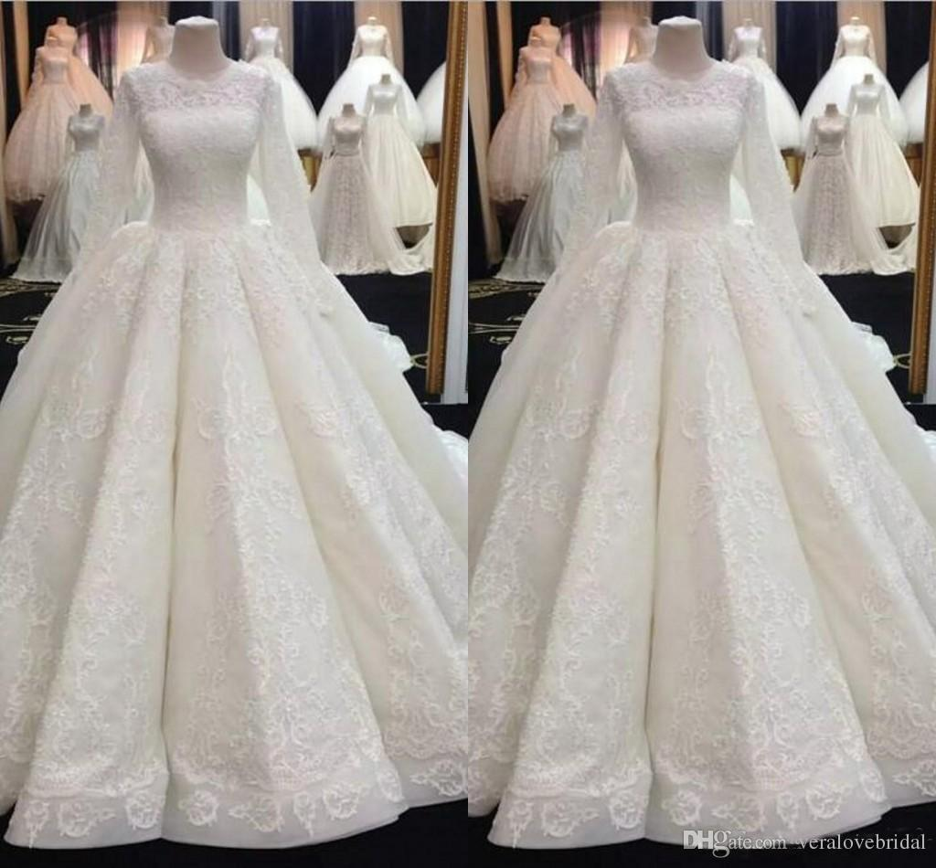 45cef58a92d4 Middle East Muslim Ball Gown Wedding Dresses Long Sleeve Lace Applique  Bridal Gowns Plus Size Cheap Arabic Wedding Gowns Wedding Designer Dresses  Wedding ...