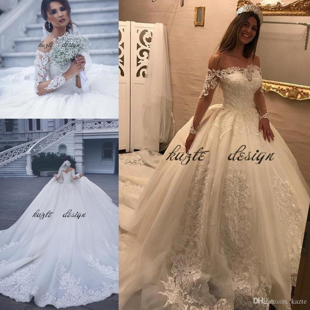 Discount 2018 Boat Neck Wedding Ball Gowns Fancy Long Sleeve Lace ...