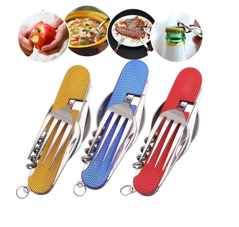 المحمولة 3 في 1 للطي أدوات المائدة الفولاذ المقاوم للصدأ ملعقة شوكة سكين متعددة الوظائف أداة للتخييم في الهواء الطلق أدوات المائدة 2 قطعة / مجموعة