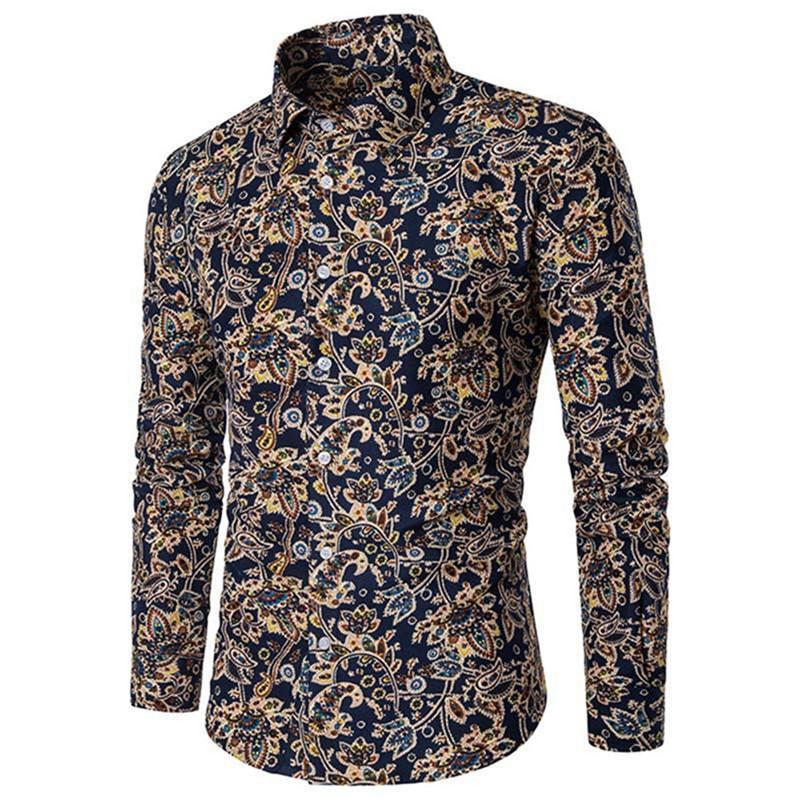 new product 88757 20ab4 Camicetta da uomo stampata vintage Camicie manica lunga stampata a fantasia  classica Camicie a maniche lunghe da uomo stile Blusa Big Size