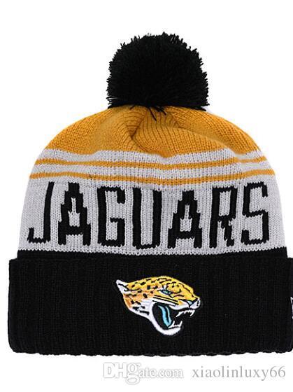 Cheap Striped Sideline Jacksonville Sport Cuffed Knit Hat Wool Bonnet Warm Cheap  Beanies Football Jaguars Knitted Skull Caps For Men Women Cool Beanies ... bcaaf7571b0