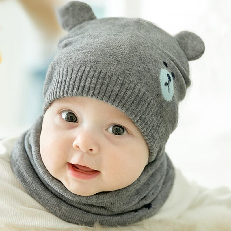 Großhandel 2 Stück Herbst Winter Neugeborenen Baby Strickmütze Schal ...