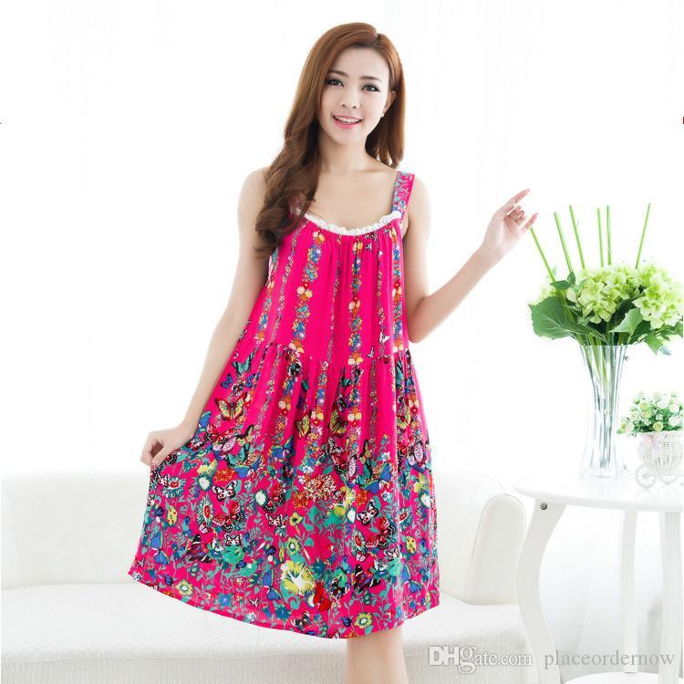 Mädchen-Sommer-Bügel-Nachtkleid-Frauen Baumwollärmelloses Nachthemd Chemise-Schlaf-Kleid Elegante Blumen-Baumwollnachtwäsche plus Größen-reizvolle Frau