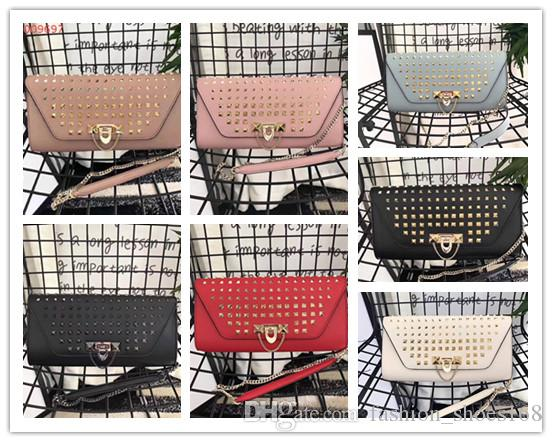 Free shipping !High-end custom luxury Genuine Leather fashion women Rivets Chains Hasp shoulder bags \Fashion Handags\Wallet Picture color