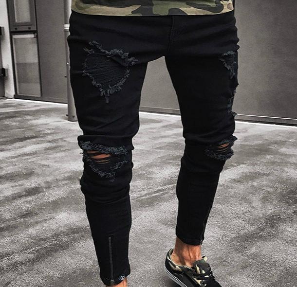 699a640dc8 Compre 2018 Nuevos Hombres Moda Primavera Verano Pantalones Delgados  Pantalones Sólidos Agujero Bottoms Hollow Out Zipper Jeans Largos S 2XL A   32.49 Del ...