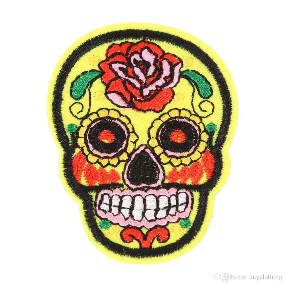Rose Skull Embroidered Iron On Patches for Clothing Bags DIY Motif Appliques Apparel Accessories Fabric Badges