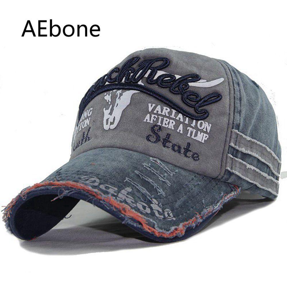 AEbone Bones Trucker Hats Men Wash Old Jeans Baseball Caps Unisex Vintage  Embroidery Casquette Navy Chapeau Homme AE8246 Beanies Kangol From Poety 58b9b1fd148