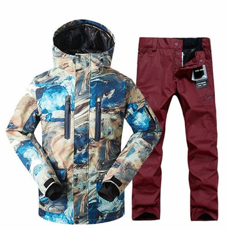 5025512d1b 2019 2018 Snowboard Jacket + Pantalones Masculina Nueva Gsou Hombres Traje  De Impermeable Al Aire Libre Deporte Campin From Shinny33