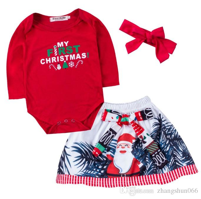 7cfa2839045fb 2019 Christmas Girls Baby Rompers Clothing Sets Red Toddler Romper Skirts  Headbands 3Pcs Set Santa Girl Infant Jumpsuits Boutique Clothes
