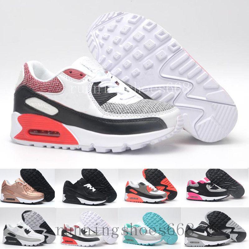 09d58a9b38 Acheter Nike Air Max 90 Airmax 2018 Printemps Automne Enfants Chaussures 90  Rose Rouge Noir Respirant Confortable Enfants Sneakers Garçons Filles  Toddler ...