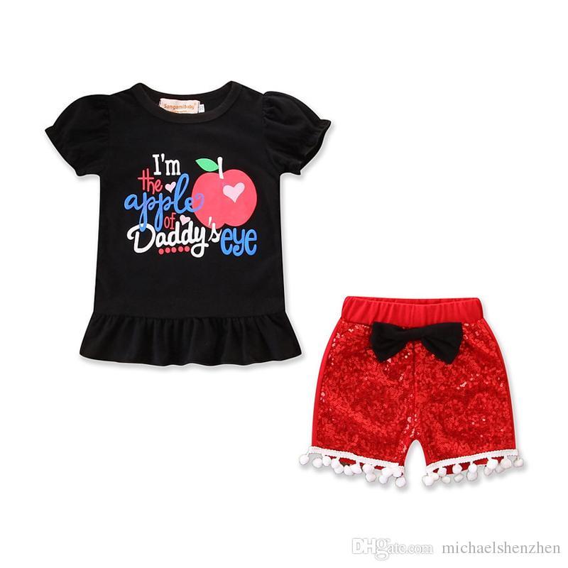0dfcb52586bf5 Acheter T Shirt Manches Courtes Été Enfant + Bébé Fille INS + Vêtements +  Short Rouge Paillette 2 Pièces Ensemble Costume Vêtements Pour Enfants B001  De ...