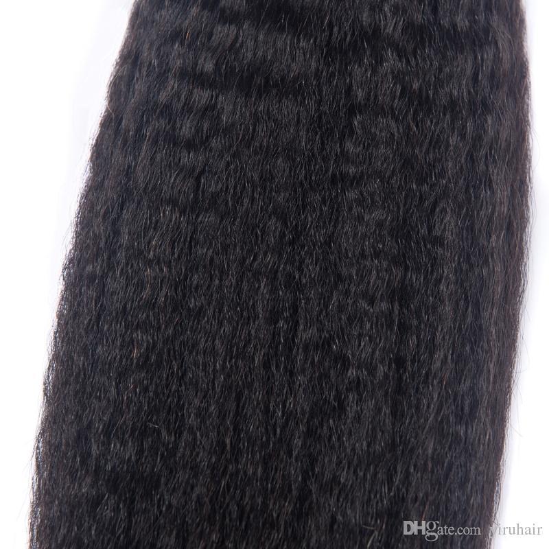 Перуанский One Bundle Kinky прямой 1 шт / серии Яки прямых Двойных утками волос соткать 95-100g / шт волосы девственницы
