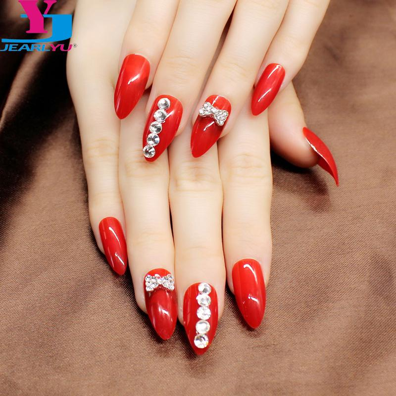 24pcs/set Fake Nails Stiletto Sexy 3D Red Beauty Charm Acrylic Resin Full Cover False Nail Art Tips Sticker Bride Bling Manicure
