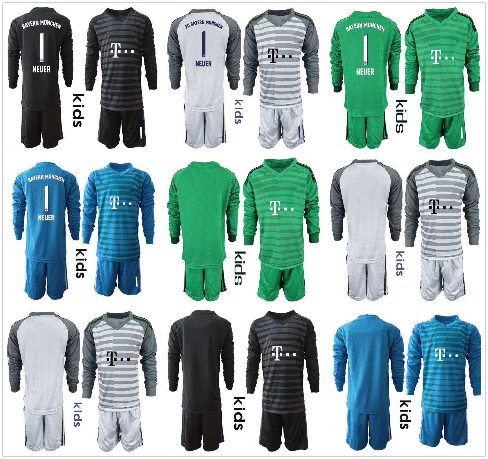 c10bd3c3ce8 2019 2018 19 Long Sleeve Kids Youth NEUER Goalkeeper Jersey Kid Kit Soccer  Sets  1 Manuel Neuer  26 Ulreich Boys Goalie Football Children Uniform From  ...