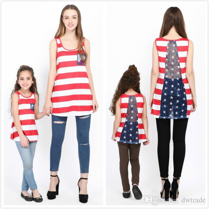 72a1c97cd5 Mother and Daughter Matching Clothes Red White Striped Blue Lace Pocket  Back Lace Vest Mom and me Tops Girls Dress