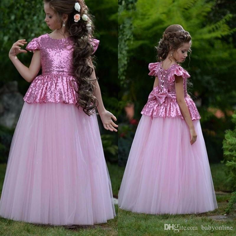 Belle Rosy Rose Petites Filles Mignonne Fille De Fleur Robes Bling Sequins Noeud Arrière Cap Manches Peplum Enfants Anniversaire Robes De Communion
