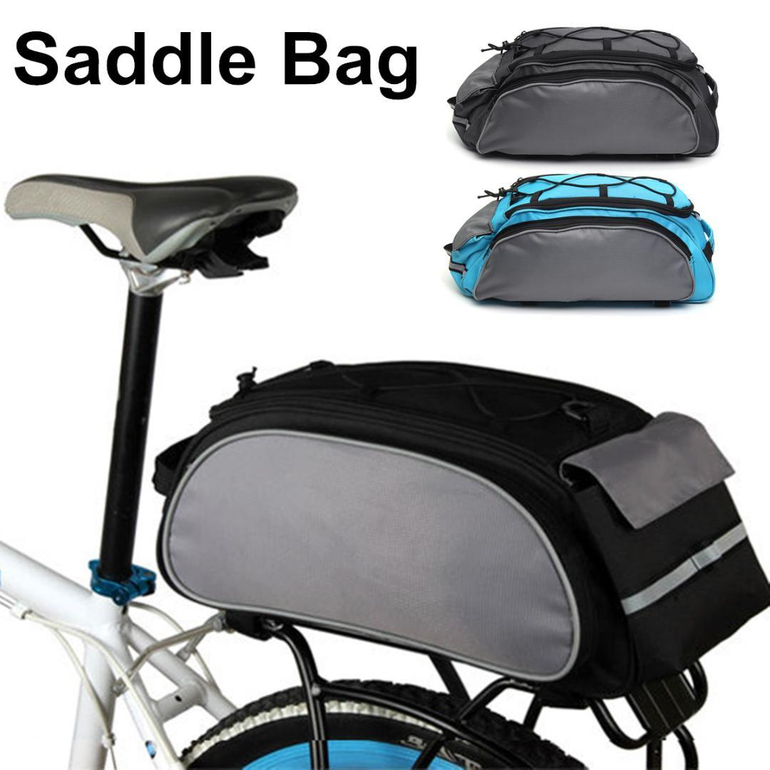13l Cycling Bicycle Bike Storage Pannier Saddle Rack Rear Seat Bag Shoulder Handbag Adjustable Strap Reflective Strip Colors Sports & Entertainment