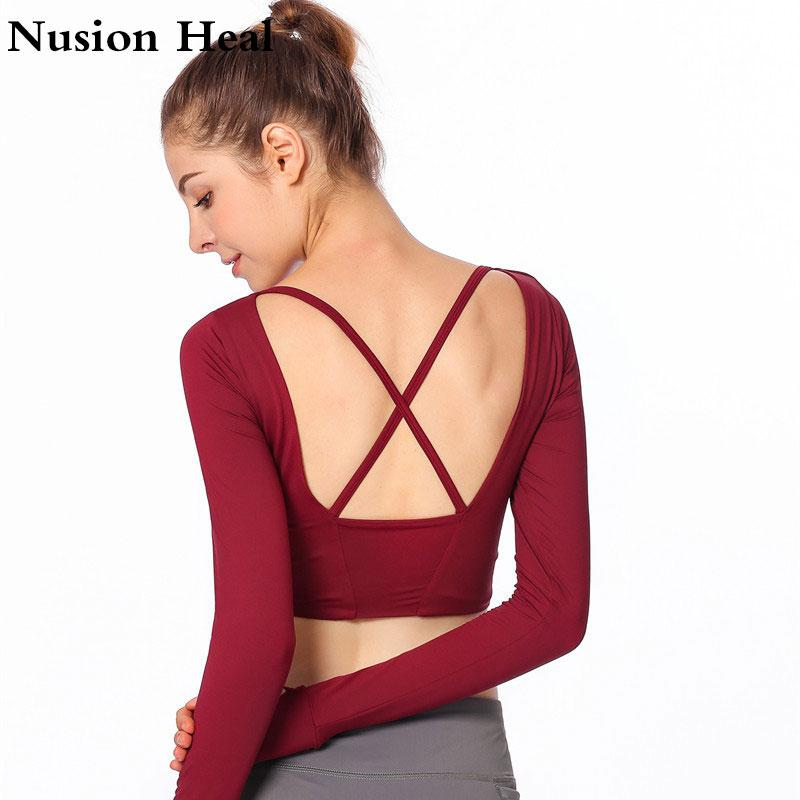 3c4e17afa7118c 2019 Drop Yoga Shirts Padded For Women Long Sleeve Crop Top Thumb Hole  Fitted Gym Top Shirts Workout Running Clothes Sports Yoga Bra From  Huanbaoxin
