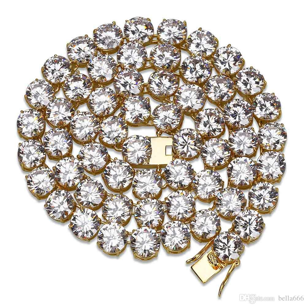 10mm Width Iced Out Cubic Zirconia Tennis Chain 1 Row Copper Hiphop Paved CZ Necklace Men Women Valentine's Day Jewelry 20''24''30''