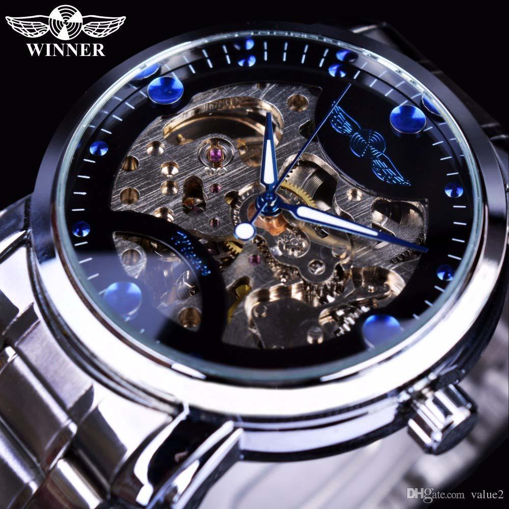 d7712c37e8b Compre WINNER Mens Watch Sport Relógios De Pulso Mecânicos Luxury Fashion  Blue Ocean Casual Designer Relógio De Esqueleto Automático De Aço  Inoxidável Para ...