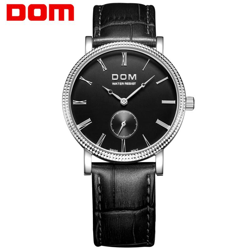 c04bf8d55a7 Compre DOM M 253 Alta Qualidade Negócios Mens Relógio De Pulso Pequeno De  Três Pinos À Prova D  água Relógio De Quartzo Espelho Mineral De Couro  Venda ...