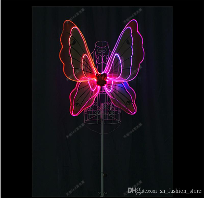 TC-171D Women led dance costumes RGB light full color butterfly wings programmable bar stage dress dj clothes cosplay wears led performance