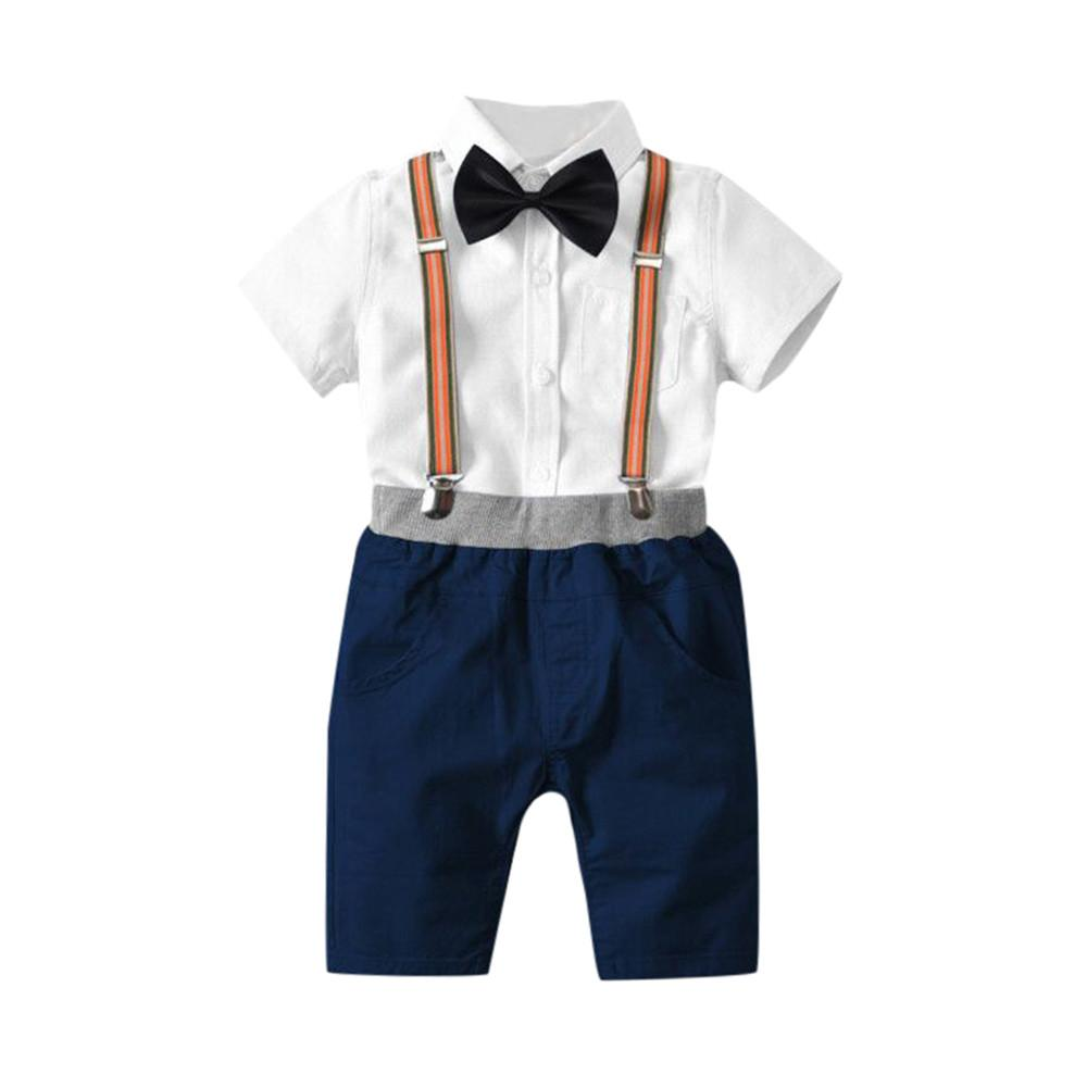 51bbea9bcee3 2019 Hot Sale Clothing Children Summer Toddler Baby Boys Summer Gentleman  Bowtie Short Sleeve Shirt Overall Shorts Sets Dropshipping From Paradise13