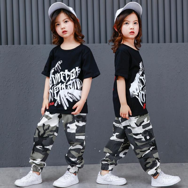 794324a678722 2019 Kid Loose Ballroom Jazz Hip Hop Dance Competition Costume For Girl Boy  Black Shirt Top Camouflage Pants Dancing Clothing Clothes From Hermanw, ...
