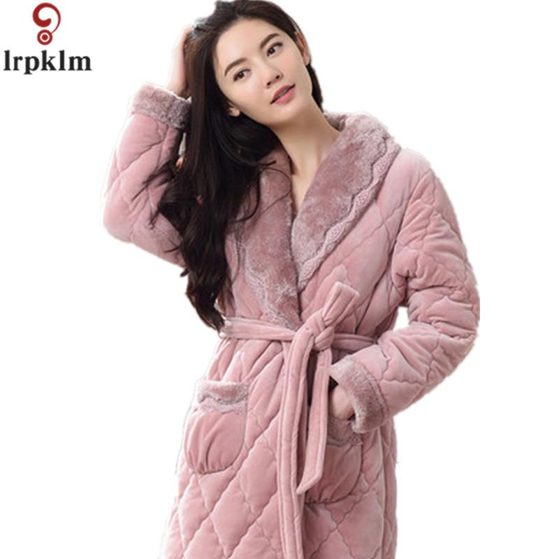 Winter Womens Nightgowns Warm Bathrobe Nightwear Kimono Dressing ...