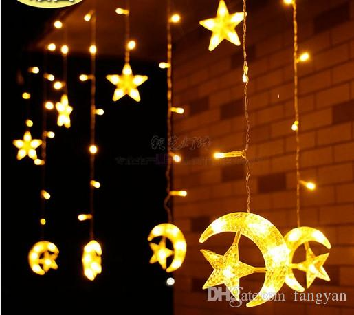 led star moon lantern energy saving and environmental protection 25m138led ice bar christmas curtain light wedding decoration red string lights round