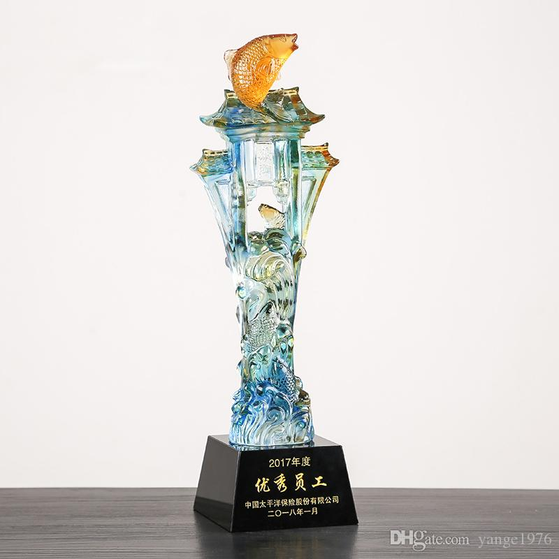 Coloured glaze high-end crystal cup trophy creative carp jump longmen company exclusive trophy in party award trophies