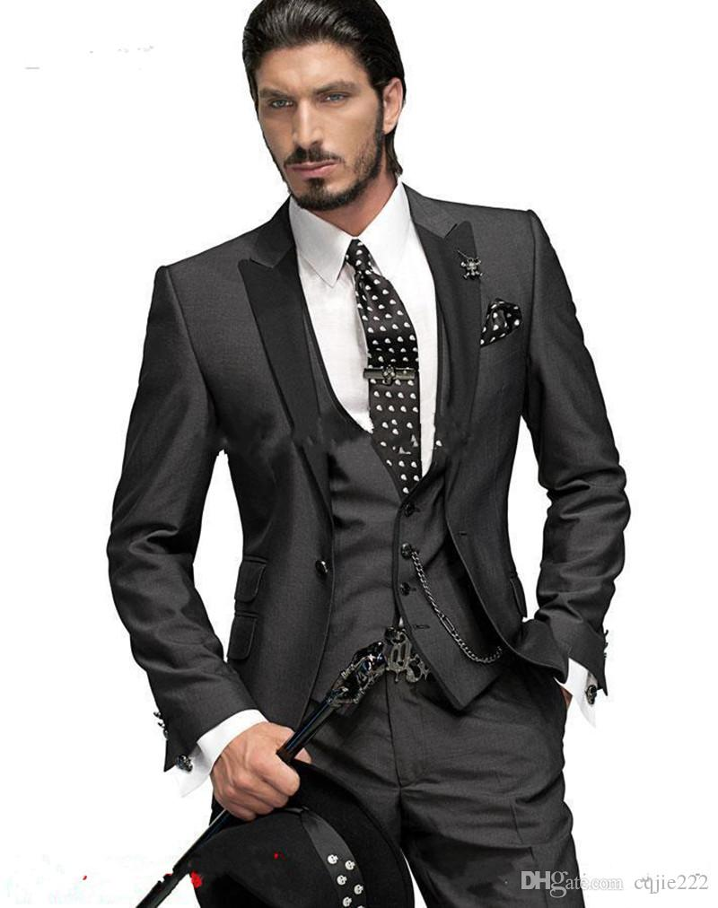 New High Quality Charcoal Grey Groom Tuxedos One Button Peak Lapel Groomsmen Men Wedding Suits Bridegroom Jacket+Pants+Tie+Vest 6
