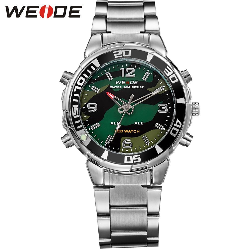 59ae7b5922f WEIDE Men Sport Watch Army Stopwatch Bracelet Strap Quartz LED Analog  Digital Wristwatches Relogios Masculino Drop Ship Black Watches Wholesale  Watches From ...
