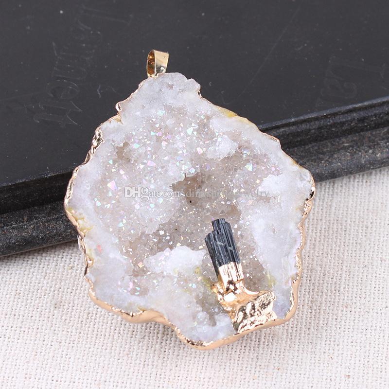 Agate Geode Pendant Natural Raw Crystal Quartz kyanite Black Tourmaline Wand Point Aura Rough Reiki Healing Cluster Necklace Charms Craft