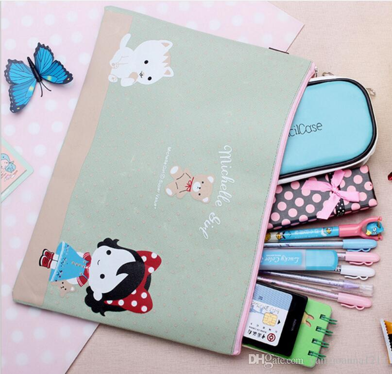 Factory Wholesale Cartoon Honey Snow Girl a4 Folder For Documents Oxford Fabric Zip A4 Document Bag File Folders Cute Students Stationery