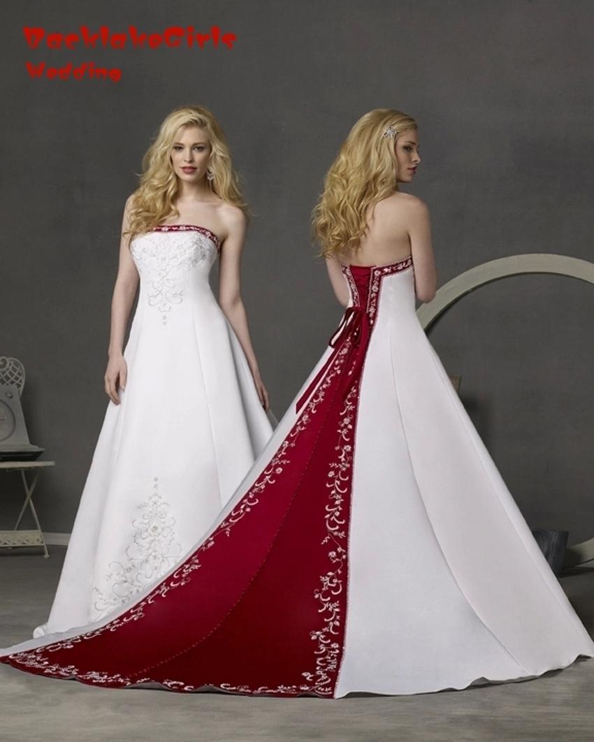 29c21c58db Compre Vestido De Novia Blanco Y Rojo Una Línea Vestido De Novia Sin  Tirantes Tribunal Tren Bordado Satinado Vestido De Novia Vestido De Novia  Trouwjurk A ...