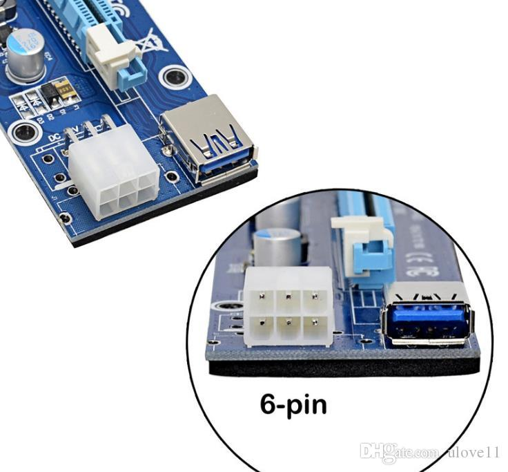 Cheap pci riser mining card Ver 006c 6pin PCI-E Express 1x to 16x Extender USB 3.0 Adapter SATA Power Blue Cable 60cm